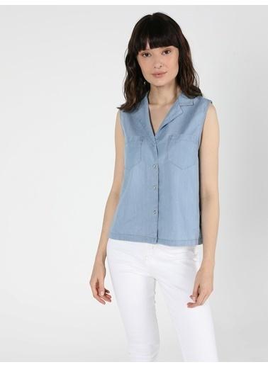 Colin's Regular Fit Klasik Kadın Kısa Kol Gömlek İndigo